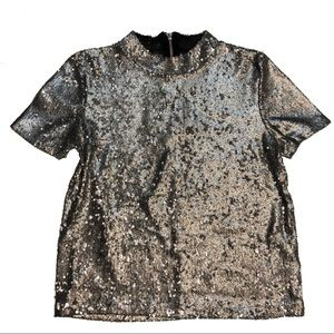 Zara Trafaluc Sequined Blouse Size Small Mock Neck